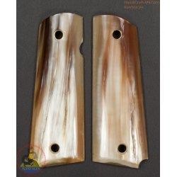 apertos de pistola 1911A1 - feitos à mão 100% autêntico chifre genuíno com cor de mármore marrom (1911A1_017)