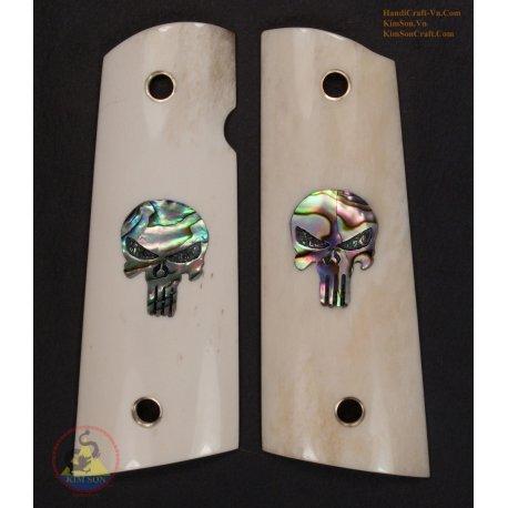 1911A1 Grips - autentico marmo Buffalo Bone - intarsio Abalone verde cranio