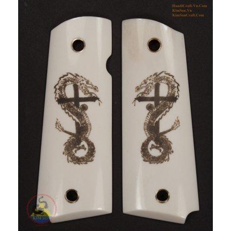 1911A1 Grips From Genuine Marble Buffalo Bone - Engraved Tattoo Cross Dragon