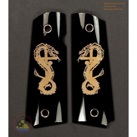1911A1 Grips From Genuine Black Water Buffalo Horn - Engraved Tattoo Cross Dragon