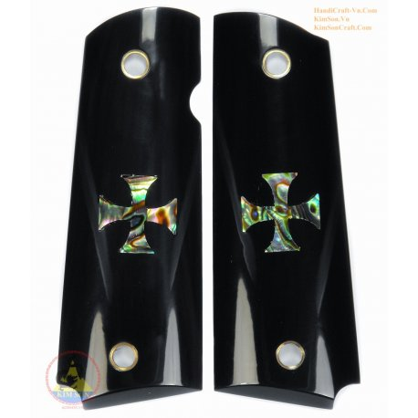 """1911A1 From Real Black Water Buffalo Horn - Inlay """"Maltese Cross"""" From Green Abalone"""