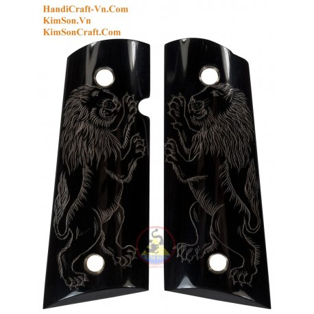 1911A1 From Genuine Black Water Buffalo Horn - Engrave 2 Standing Lion