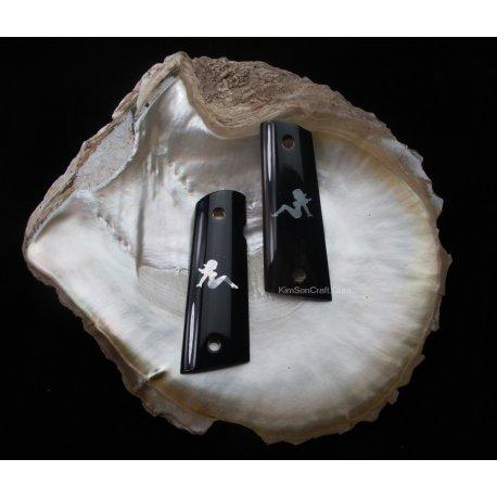 1911A1 fatti a mano da corno di Bufalo nero e incorporato genuino sexy ragazza madre di perla