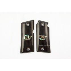 Colt Mustang Pocketlite 380 de chifre de búfalo preto genuíno - logotipo de Colt embutimento de Abalone verde
