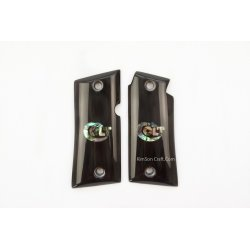 Colt Mustang Pocketlite .380 From Genuine Black Buffalo Horn - Inlay Colt Logo From Green Abalone