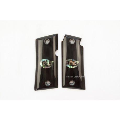 Colt Mustang Pocketlite.380 partir en corne de buffle noir véritable - Logo Colt incrustation d'ormeau vert