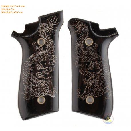 """Taurus PT92 aus echten schwarzen Buffalo Horn & Gravur """"Viet Nam Dragon"""" von Hand"""