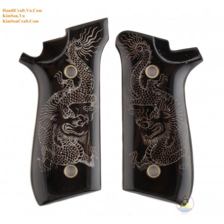 """Taurus PT92 From Real Black Buffalo Horn & Engraving """"Viet Nam Dragon"""" By Hand"""