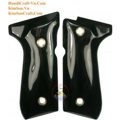 Beretta 92FS Grips - Handmade From Genuine Black Water Buffalo Horn