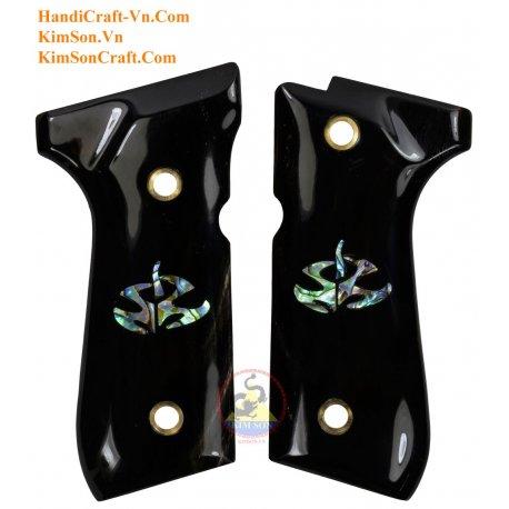 "Beretta 92FS Grips - Handmade From Genuine Black Water Buffalo Horn - Embedded ""Hitman Logo"" Green Abalone"