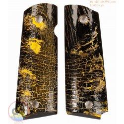 prese della pistola 1911A1 - 100% autentico genuino corno nero con vernice gialla