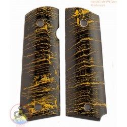 apretones de la pistola 1911a1 - 100% auténtica auténtico Cuerno negro con pintura amarilla