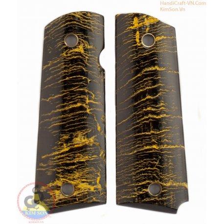 1911 a 1 Canon grips - 100 % authentiques corne noire authentique avec de la peinture jaune