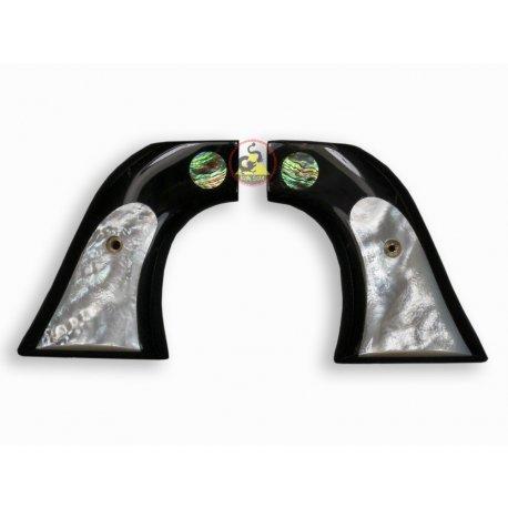 Revolver Ruger Griff - Modell Blackhawk - Buffalo schwarz Horn einbetten weiße Mutter der Perle Logo