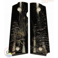 1911 a 1 Canon grips - 100 % authentiques corne noire véritable veine naturelle (1911A1_003)