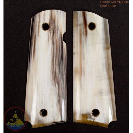 1911A1 pistol grip - Handmade dal corno di bestiame bianco marmo genuino autentico di 100% come area bianco 90% (1911A1_007)