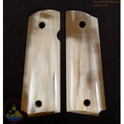 apertos pistola 1911A1 - Handmade de chifre de fé genuína em mármore branco gado 100% como área de 70% de brancos (1911A1_008)