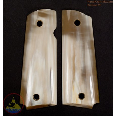 1911a1 pistol grips - Handmade from 100% authentic genuine marble white cattle horn as 70% white area (1911A1_008)