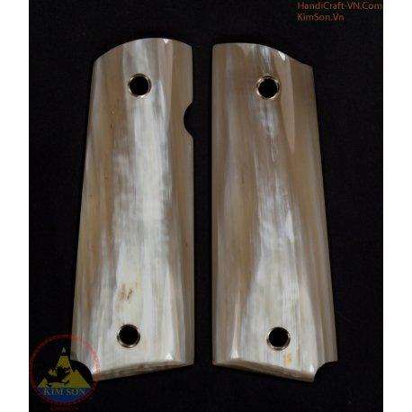 1911A1 pistol grip - Handmade dal corno di bestiame bianco marmo genuino autentico di 100% come area bianco 70% (1911A1_009)