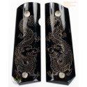 1911a1 Pistole Griffe - handgefertigt aus 100 % authentisch echt schwarz Horn - Gravur Vietnam Drache und Phoenix