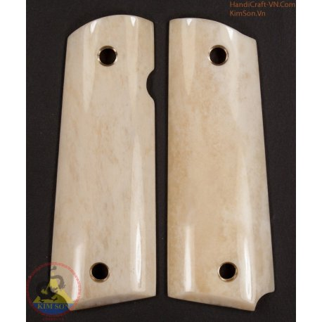 1911a1 pistol grips - Handmade from 100% authentic genuine marble buffalo bone (1911A1_011)